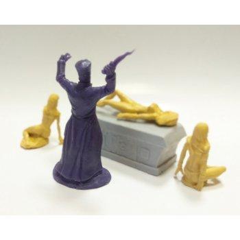 Dark priest-sorcerer and slave girls (violet)